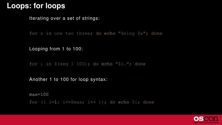 Loops: for loops