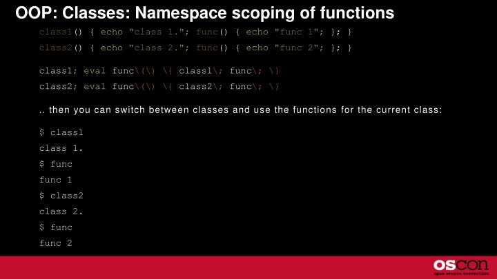 OOP: Classes: Namespace scoping of functions