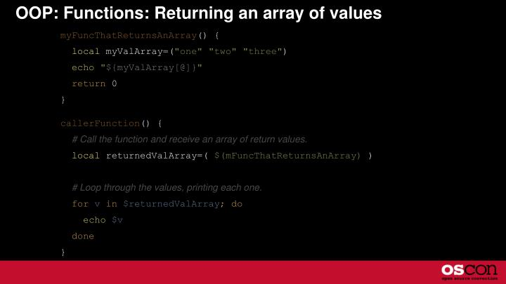 OOP: Functions: Returning an array of values