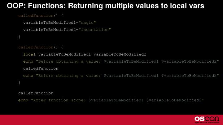 OOP: Functions: Returning multiple values to local