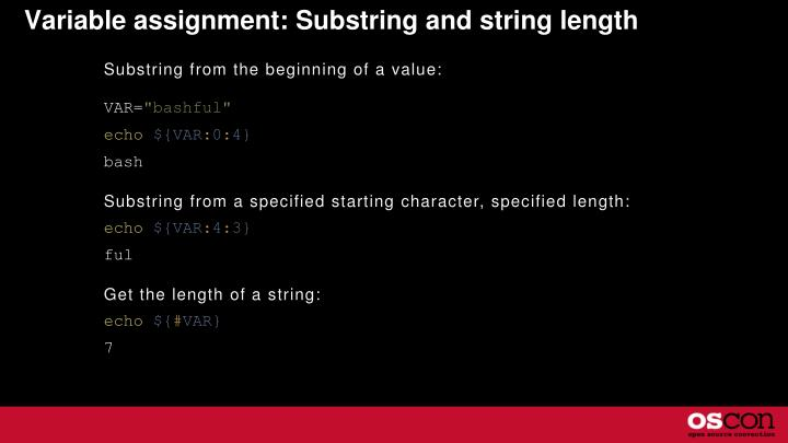 Variable assignment: Substring and string length