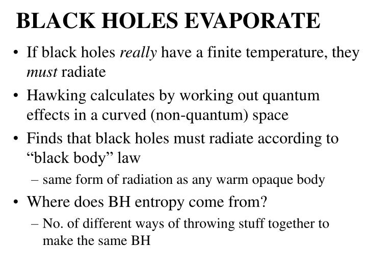 BLACK HOLES EVAPORATE