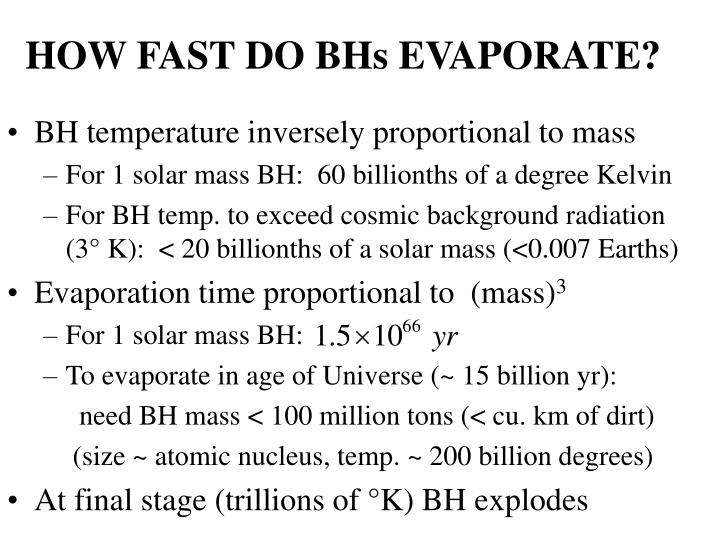 HOW FAST DO BHs EVAPORATE?