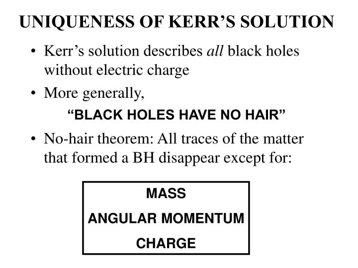 UNIQUENESS OF KERR'S SOLUTION