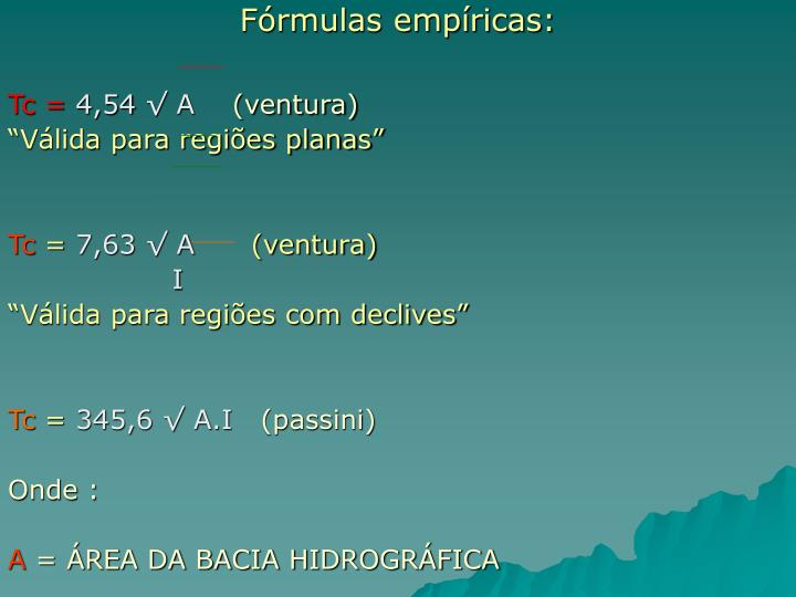 Fórmulas empíricas:
