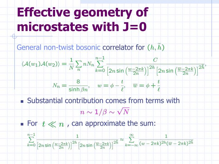 Effective geometry of microstates with J=0