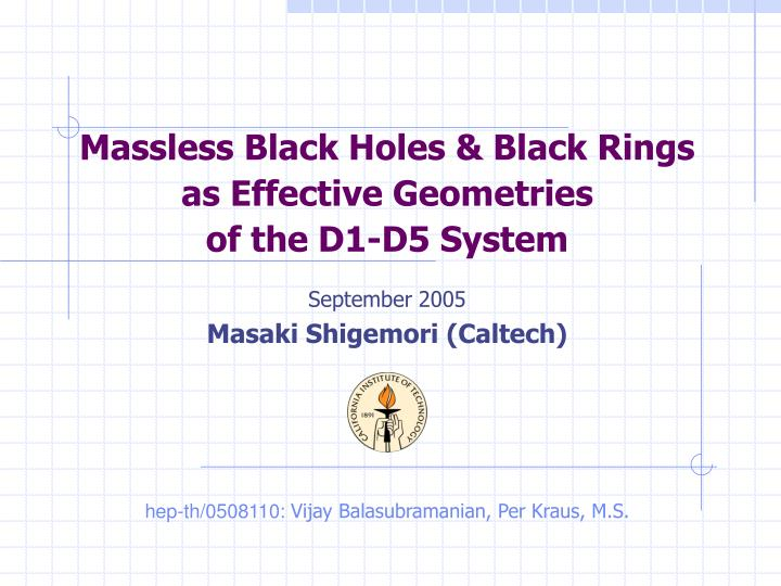 Massless black holes black rings as effective geometries of the d1 d5 system