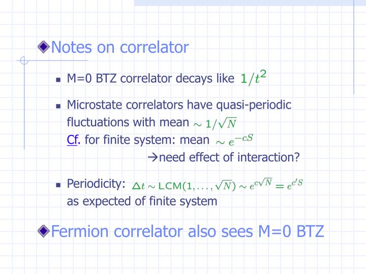Notes on correlator