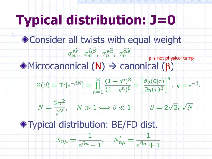 Typical distribution: J=0