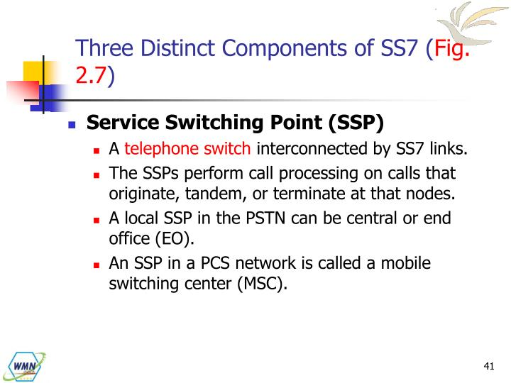 Three Distinct Components of SS7 (