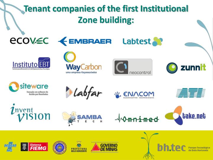 Tenant companies of the first Institutional Zone building: