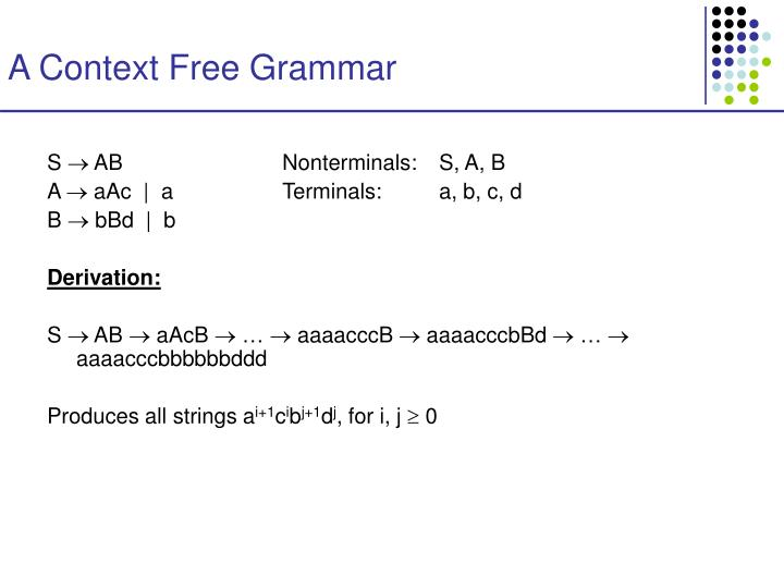 A Context Free Grammar