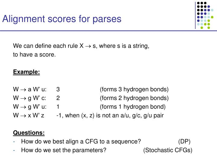 Alignment scores for parses