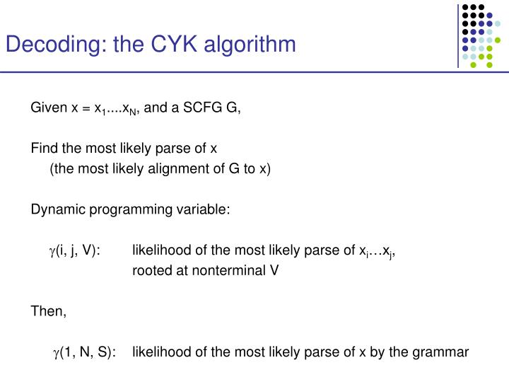 Decoding: the CYK algorithm