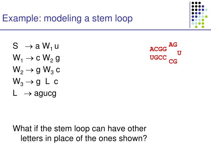 Example: modeling a stem loop