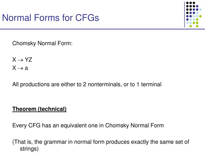 Normal Forms for CFGs