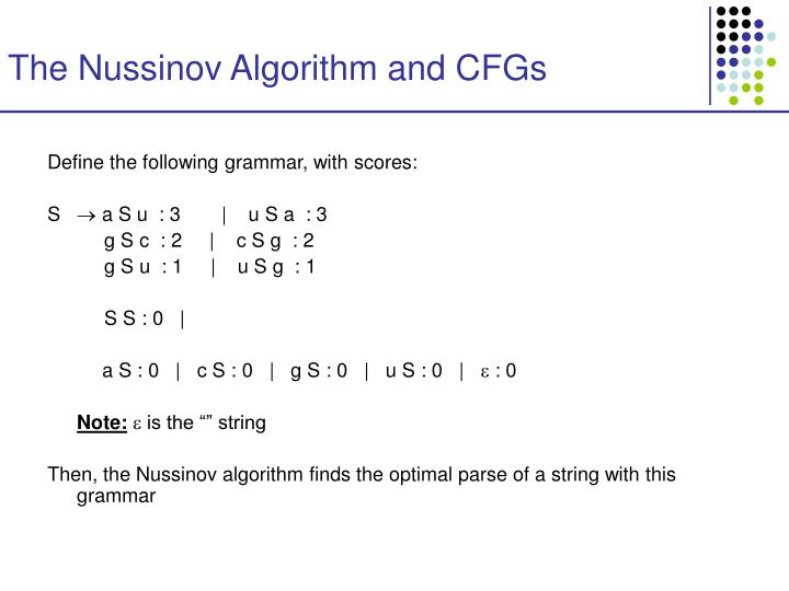 The Nussinov Algorithm and CFGs