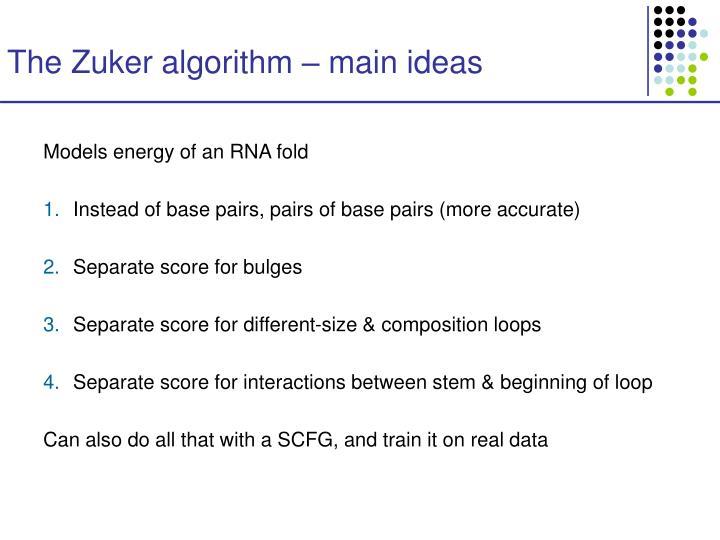 The Zuker algorithm – main ideas