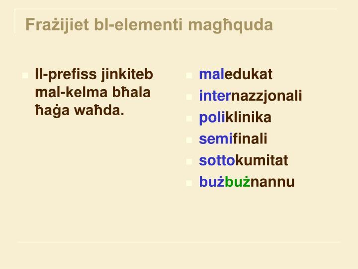 Il-prefiss jinkiteb   mal-kelma bħala ħaġa waħda.