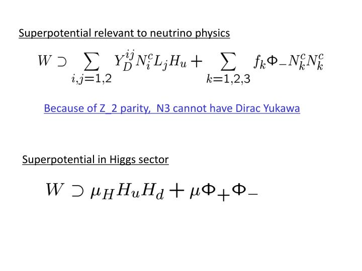 Superpotential relevant to neutrino physics