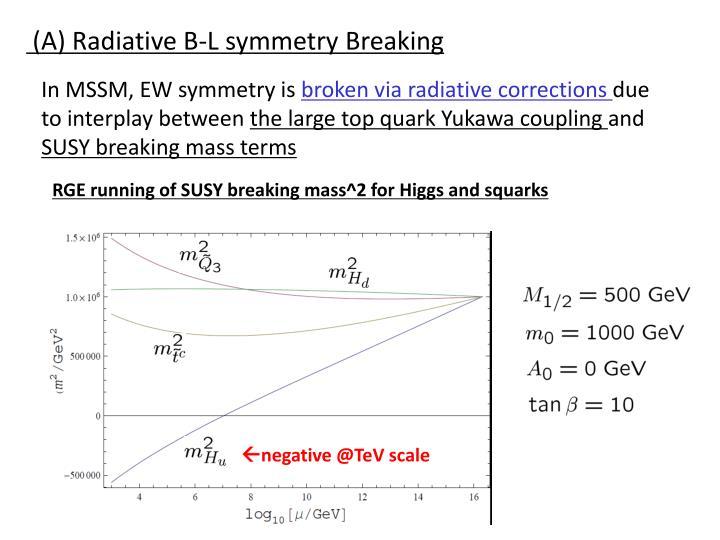 (A) Radiative B-L symmetry Breaking