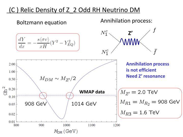 (C ) Relic Density of Z_2 Odd RH Neutrino DM