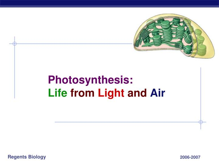 Photosynthesis life from light and air