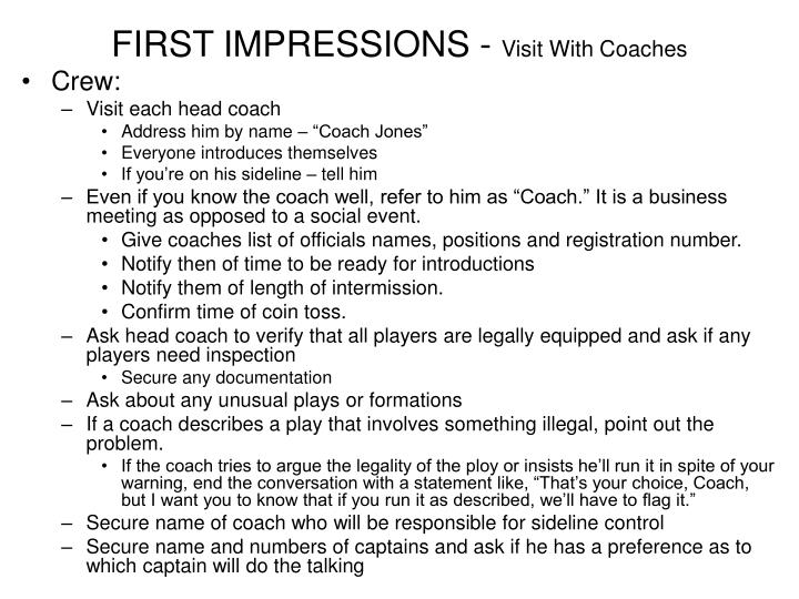 FIRST IMPRESSIONS -