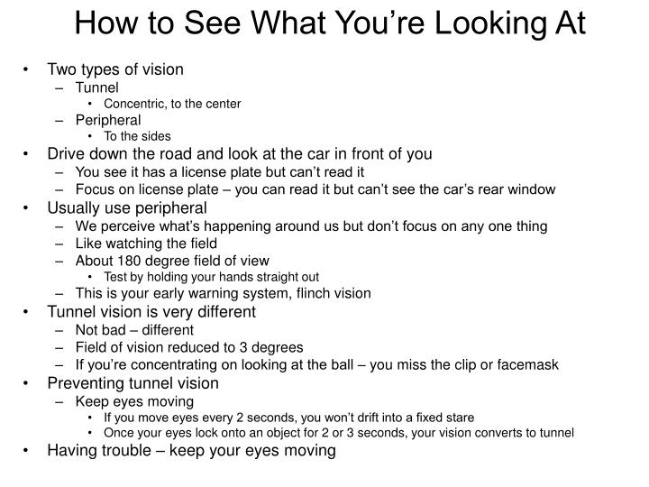 How to See What You're Looking At