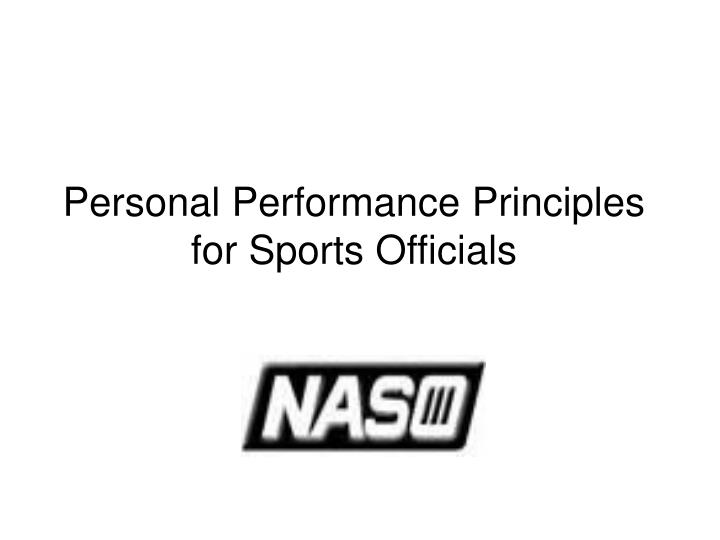 Personal Performance Principles