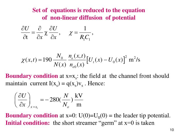 Set of  equations is reduced to the equation                                                              of  non-linear diffusion  of potential