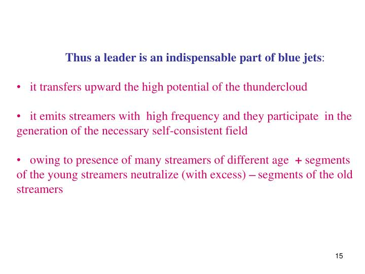 Thus a leader is an indispensable