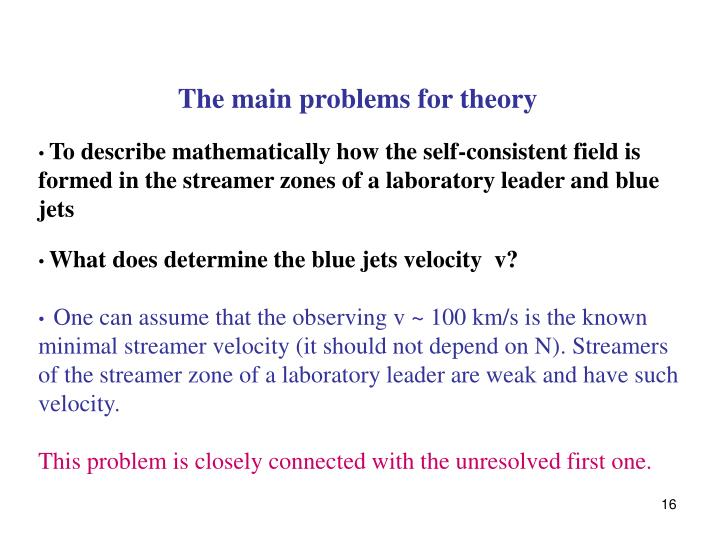 The main problems for theory