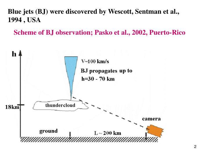 Blue jets (BJ) were discovered by Wescott, Sentman et al., 19