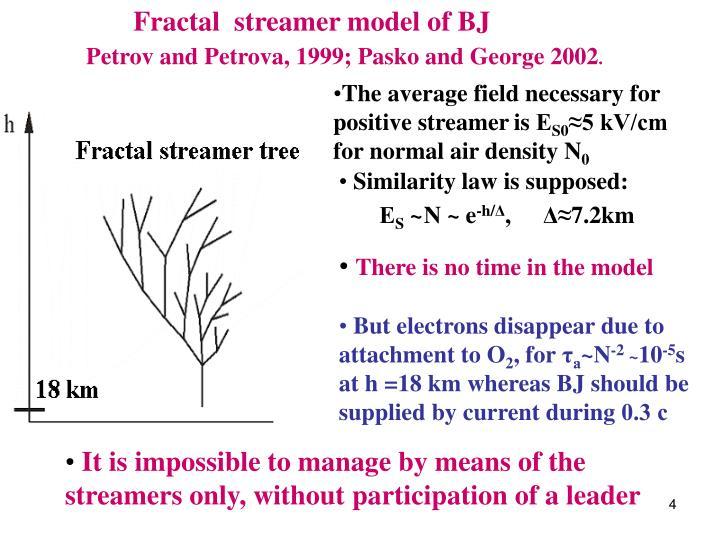 Fractal  streamer model of BJ
