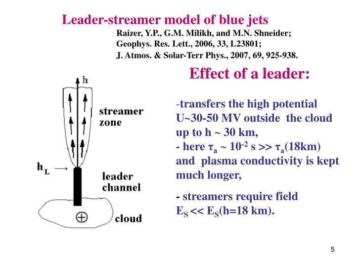 Leader-streamer model of