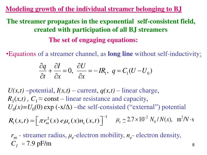 Modeling growth of the individual streamer belonging to BJ