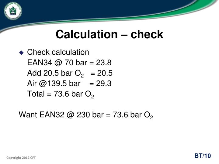 Calculation – check