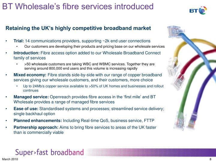 BT Wholesale's fibre services introduced