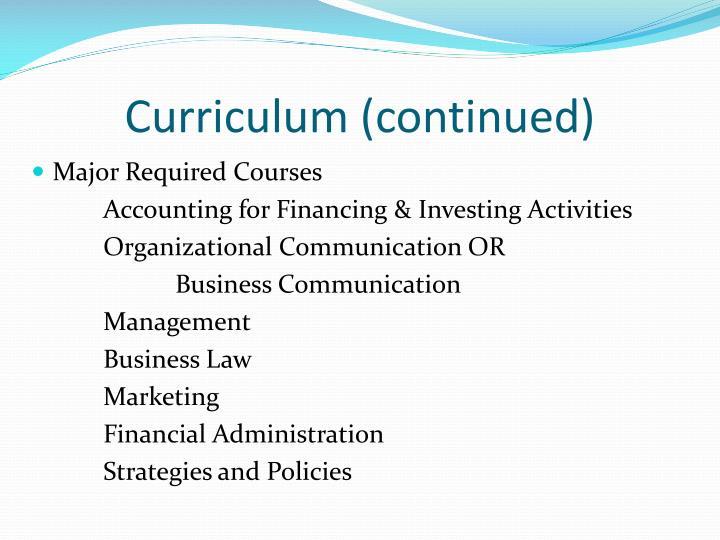 Curriculum (continued)