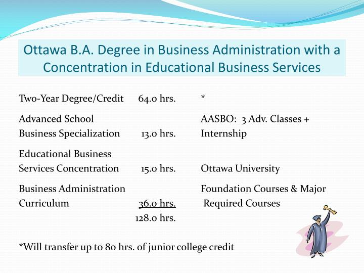 Ottawa b a degree in business administration with a concentration in educational business services