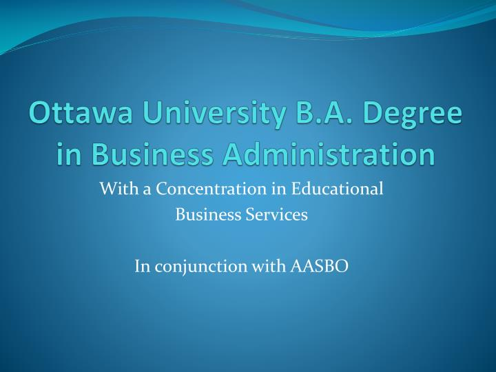 Ottawa university b a degree in business administration