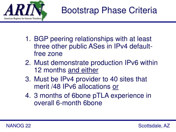 Bootstrap Phase Criteria