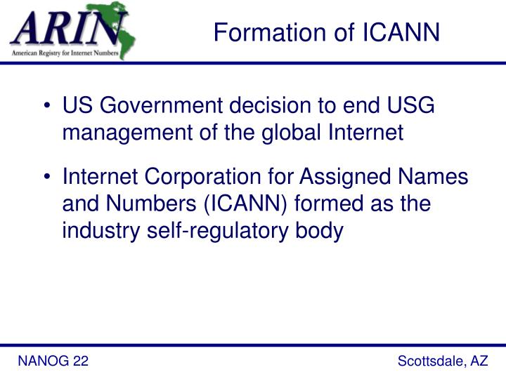 Formation of ICANN