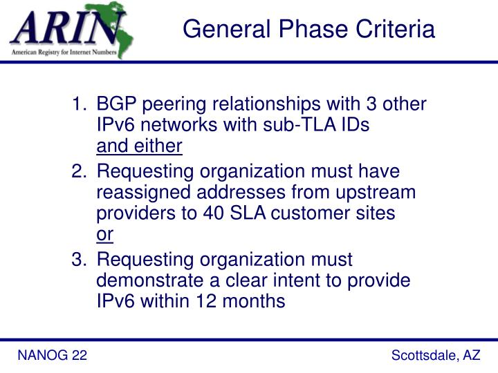 General Phase Criteria