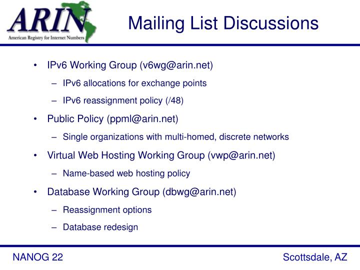 Mailing List Discussions