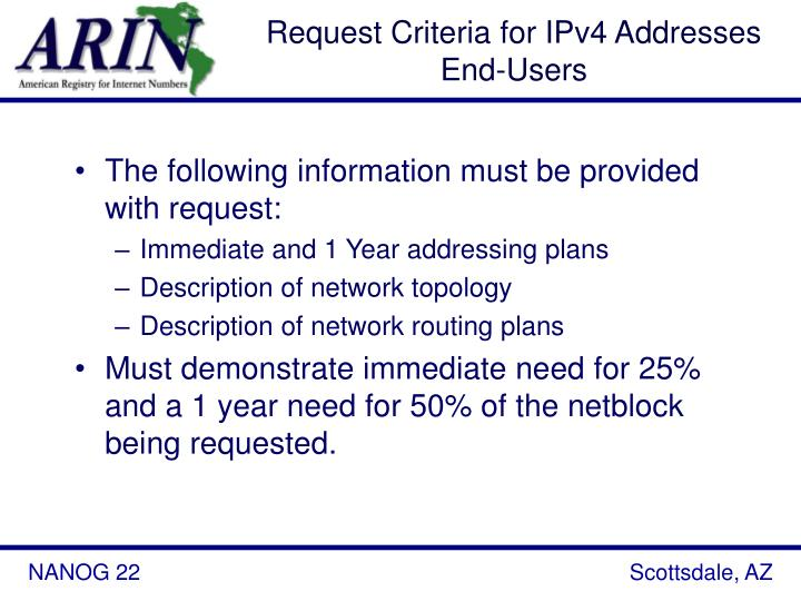 Request Criteria for IPv4 Addresses