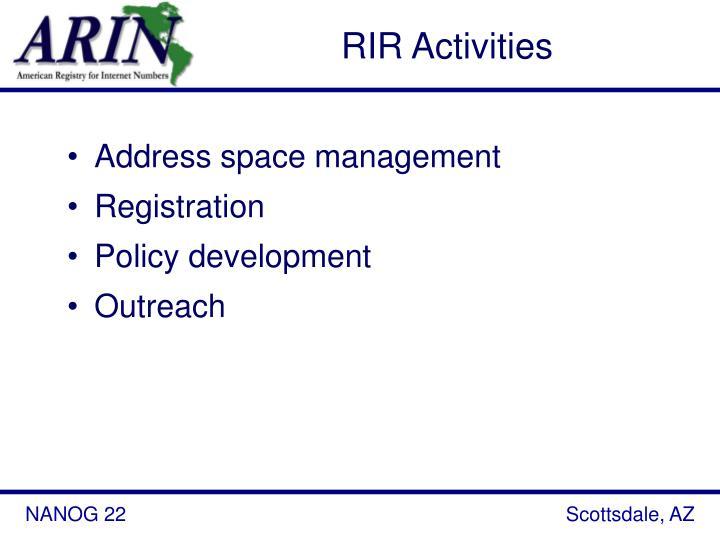 RIR Activities