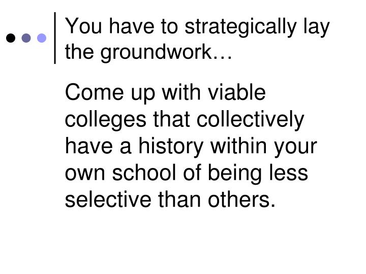 You have to strategically lay the groundwork…