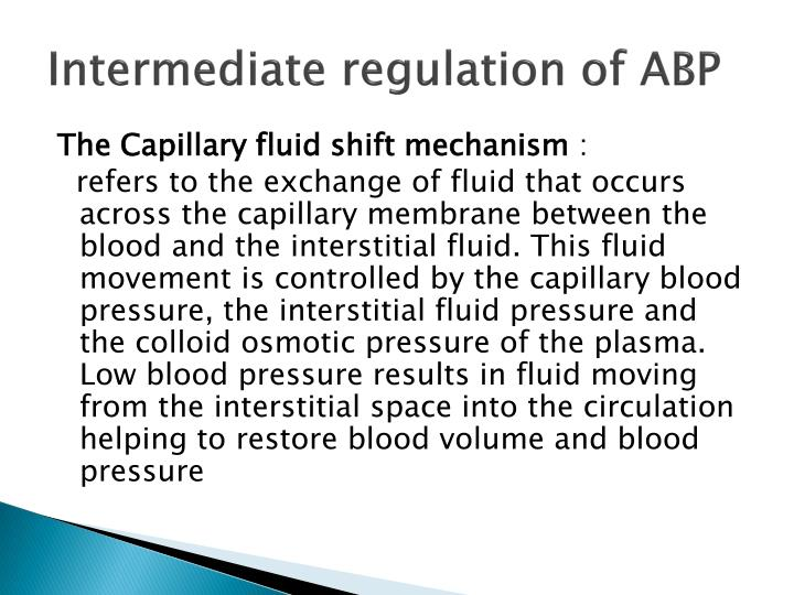 Intermediate regulation of ABP